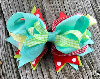 Big hair bow clip 5.5 inches for baby Toddler Girl multiple layers, Christmas , Birthday gift for girls