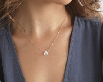 Tiny moonstone Necklace, Stone Necklace Moonstone, Moon Stone Gold Necklace, Simple and Delicate Necklace, Necklaces /N-134