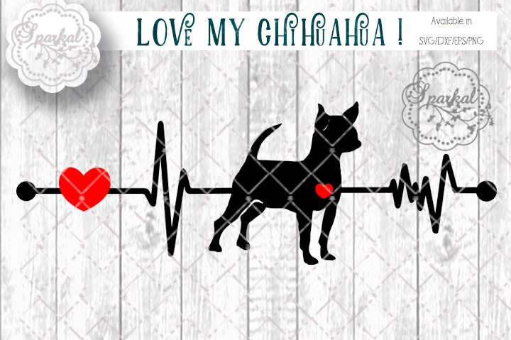 Download Love My Chihuahua DOG Svg Cut File Heartbeat Stencil Heart