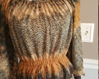 Boho Cinch Waist Top with Flaired Sleeves.
