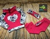 Pink rose tracksuit set headband outfit cotton jersey harem pants pocket sweatshirt sweater jacket funnel neck heart kids fashion girl baby