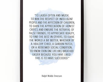 To laugh often (...), Ralph Waldo Emerson , Alternative Watercolor Poster, Wall art quote, Motivational quote, Inspirational quote,