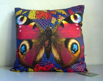 butterfly wings Cushion cover,butterfly print,butterfly,purple,blue,red,yellow,eco friendly organic cotton,decorative pillow,43cm x 43cm