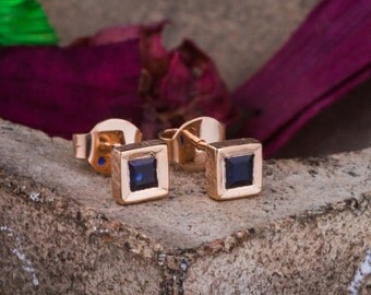 Square Natural Blue Sapphires Studs set in 14K Rose Gold, Natural Sapphires Studs, 14K Rose Gold Studs, Blue Sapphire Studs, Zehava Jewelry