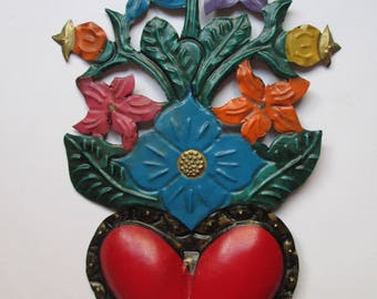 Punched Tin Heart w/ Flower Bouquet - Mexican Folk Art, Mexican Heart, Tin Heart