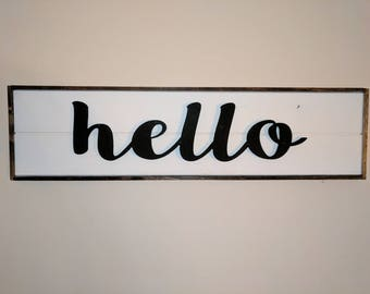Carved HELLO Sign, HELLO Sign, Farmhouse Style Welcome Sign
