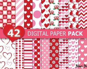 42 Valentine Digital Papers,Heart Digital Paper,Heart and Valentine Digital Papers,Valentine background,Red and Pink Valentine digital paper