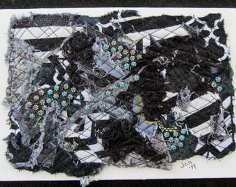 """Black and White Art Quilt, Abstract Fiber Art, Miniature Art Quilt, Unique Fiber Art, Home Decor, Shelf Art, Gift Idea, 7"""" x 5"""""""