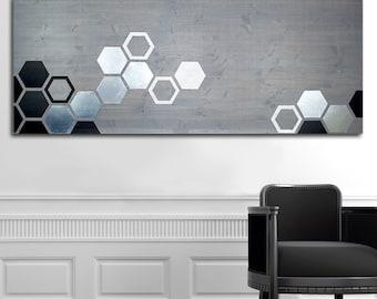 Wall Décor, Minimalist Art, Wooden Geometric Wall Art, Large Wall Art for Living Room, Metal Art
