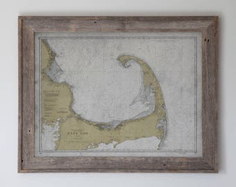 Cape Cod Map : Vintage Early 20th C. Nautical Map of Cape Cod, Massachusetts - Weathered Map