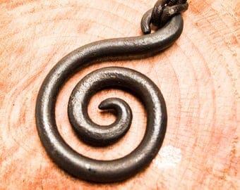 Hand Forged Spiral Pendant - Blacksmith Made