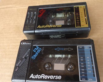 vintage walkman cassette player recorder portable am fm radio,LXI series autoreverse,retro 80s prop,for parts.incomplete,lot of 2