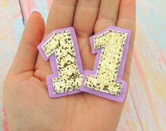 Number feltie - Number one felt - One bow center - Embroidered number  - Scrap booking Number - Number hair bow - Birthday bows