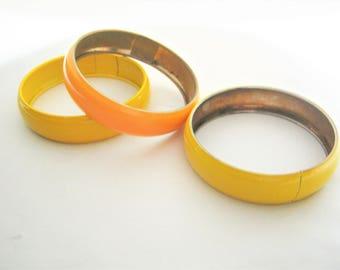 "Bright Bangle Bracelets*Lemon Yellow*Orange*1960's*Vintage Bracelets*Enamel Bracelets*Flower Child*Hippies*8"" Bangle*3/4"" Wide Bracelet"