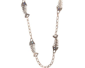 Pretty Vintage Style Blue Eyed Bronze Fish Skeleton Long Chain Necklace