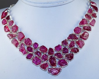 Fabulous Rough Rubellite Tourmaline  set in Solid 925 Sterling Silver Necklace by Silver Trend