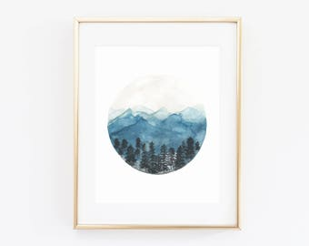 Watercolor - Tahoe - Mountains - Inspirational - Artwork Print - Multiple Sizes