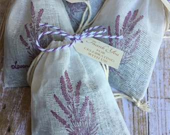 8 ~ Lavender Sachet favors, Bridal Shower, Baby Shower, Wedding favors, Muslin Lavender Sachets with tags