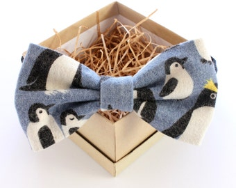 Penguin Bow Tie - Mens Pre-Tied Bow Tie - Womens Pre-Tied Bow Tie - Blue Winter Bow Tie - Adjustable Bow Tie- Holiday Gifts for Him Under 50