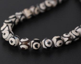 Black &white Three-eyes Pattern Tibetan Agate Dzi Smooth Round Beads,Beautiful Tibetan Dzi Agate stone Beads DIY Jewelry bracelet making