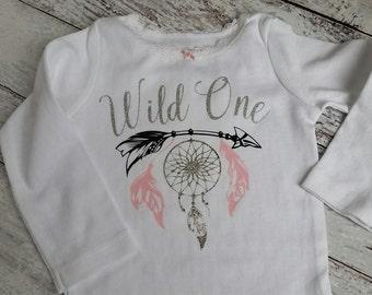 Boho First Birthday, Wild One, Boho WIld One, Boho bodysuit, Boho themed party, Baby bodysuit, Boho Baby, Baby Girl clothing, baby girl