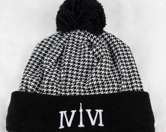 """Toronto 416 Houndstooth-Style Toques. The Roman Numerals Stand For 416, With The """"1"""" Resembling The CN Tower."""