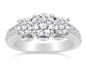 2.00ctw Diamond Three stone Ring in 14k White Gold