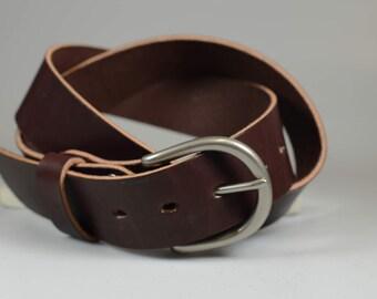 Handmade leather Daniel belt in Hermann Oak Cuban Brown