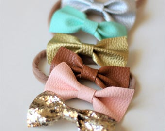 Leather Bows  ~ Headband Set of 2 ~ Hair Clips ~ Bow Hair Clips ~ Nylon Headband ~ Newborn Headband ~ Pink/Gold/Silver/Mint/Brown/Glitter ~