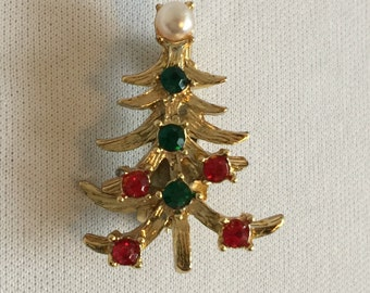 Vintage Christmas Tree Pin Brooch Red and Green with Pearl