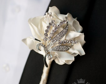 Wedding Boutonniere Groom Boutonniere Ivory Boutonniere Silver Boutonniere Jewelry Boutonniere Wedding Package Fabric Boutonniere Buttonhole
