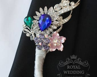 Wedding Boutonniere Buttonhole Boutonnieres Wedding Grooms Boutonniere Crystal Boutonniere Blue Boutonniere Silver Boutonniere Groomsman Pin