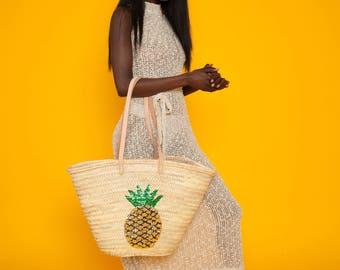 SUMMER SALE Moroccan market basket, extra large basket bag, sequin pineapple bag, pineapple tote, pineapple basket, straw basket, straw bag