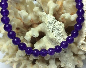 6mm Purple Jade Bead Bracelet on Stretch Cord, Free Shipping, Made to Order