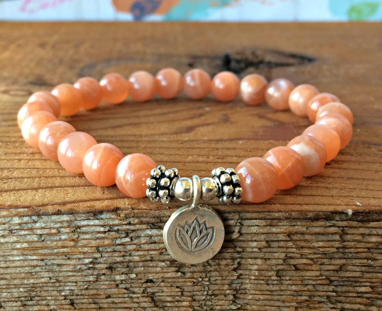 Peach Moonstone Bracelet Moonstone Jewelry Yoga Mala Beads