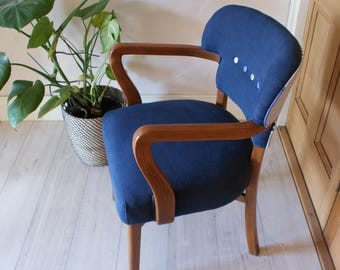 Striped Back Linen Chair