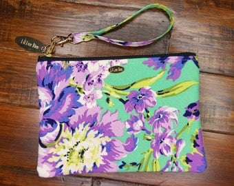 Larger Purple Flower Wristlet