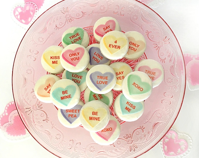Edible Conversation Hearts Valentine's Cake, Cupcake, Cookie and Oreo Toppers - Wafer Paper or Frosting Sheet