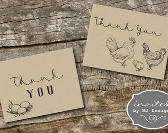 Thank You Card, Little Chick, Baby Chick, Farm Themed Baby Shower