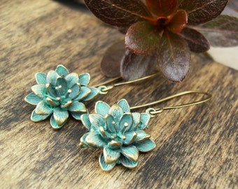 Turquoise Patina Earrings, Dahlia Flower Earrings, Rustic Brass Earrings, Woodland, Botanical, Green Patina Casual Earrings, French Wire
