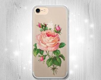 Vintage Pink Rose Transparent Clear Case For iPhone 7 7 Plus 6 6S 6 Plus 6S Plus SE 5 5S