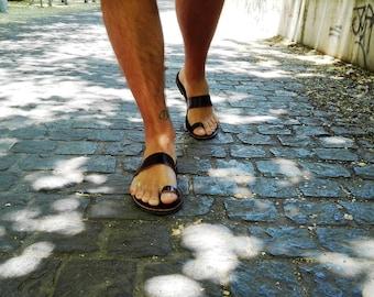 Leather Greek Sandals,Leather Handmade Sandals, Anciet Leather Sandals, Brown Men Sandals,  Men leather sandals, Summer Shoes, Flat Sandals