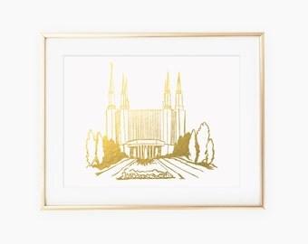 Illustrated Washington DC Temple Gold Foil Art Print