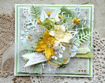 """Beautiful Handmade Green """"Cheer"""" Shabby Chic Greeting Card #WC2017-4"""