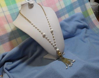 Pretty Vintage Tassel Necklace with White Lucite Beads