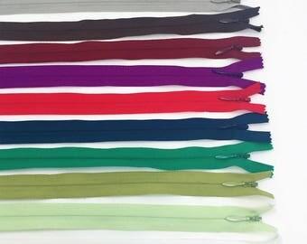 """9"""" YKK Invisible Zipper 100 Piece Multi-color Assortment Nylon Coil Closed Bottom"""