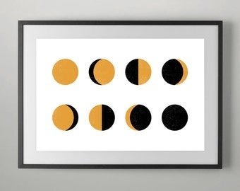Moon Print, Moon Phases, Moon Wall Print, Moon Poster, Moon Wall Art, Moon Phases Print, Moon Phases Poster, Instant Download, Home decor.