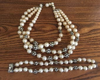 Vintage Crystal Rhinestone Disco Ball and Faux Pearl Choker Necklace and Bracelet  Set 1182