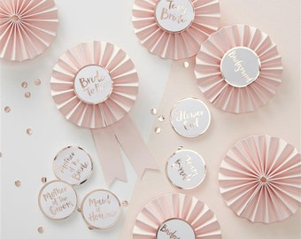 Pink  and Rose Gold Hen Party Badges - Bride to Be, Bridesmaid