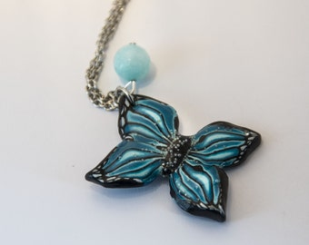 Blue Butterfly Necklace with polymer clay and beads